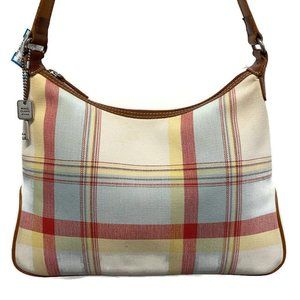 Fossil Cream & Red Plaid Canvas Shoulder Bag